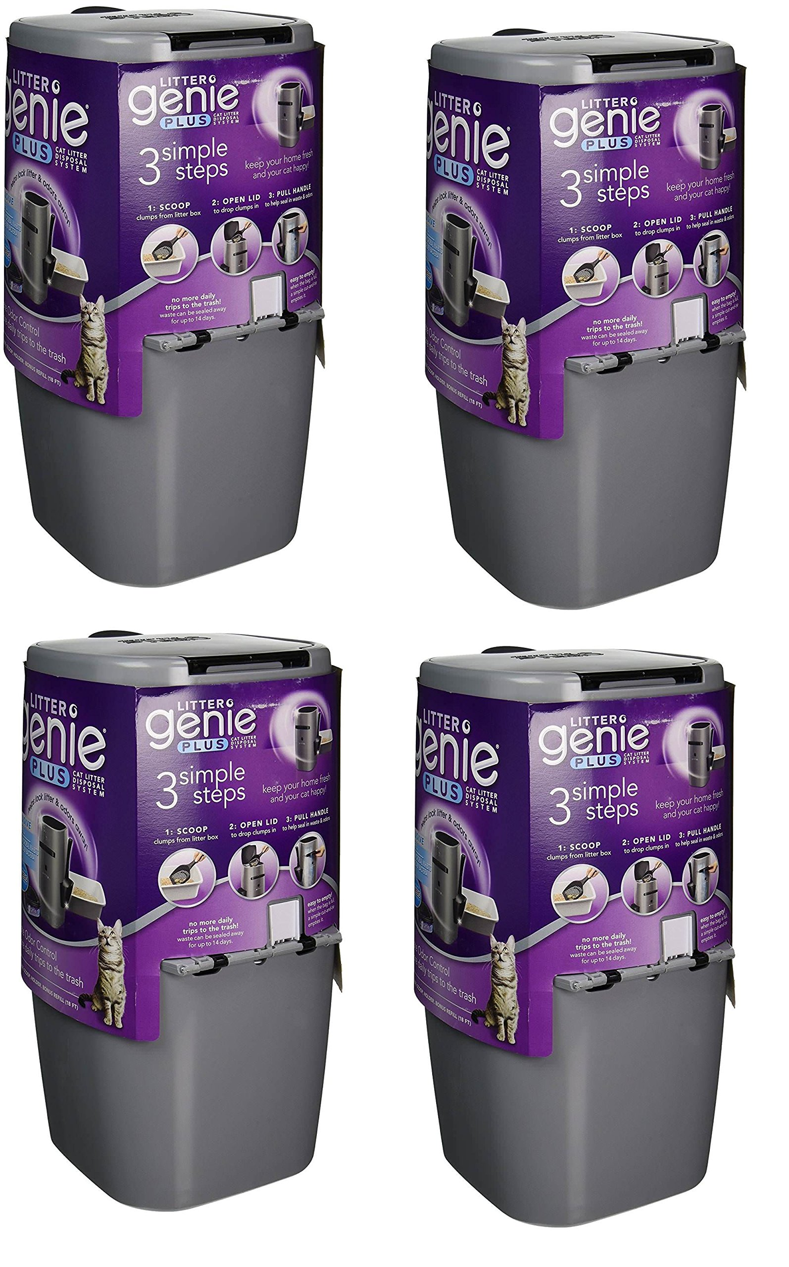 Litter Genie Plus Cat Litter Disposal System Rmrqgq with Odor Free Pail System XiDcmz, 4 Pack(Silver)