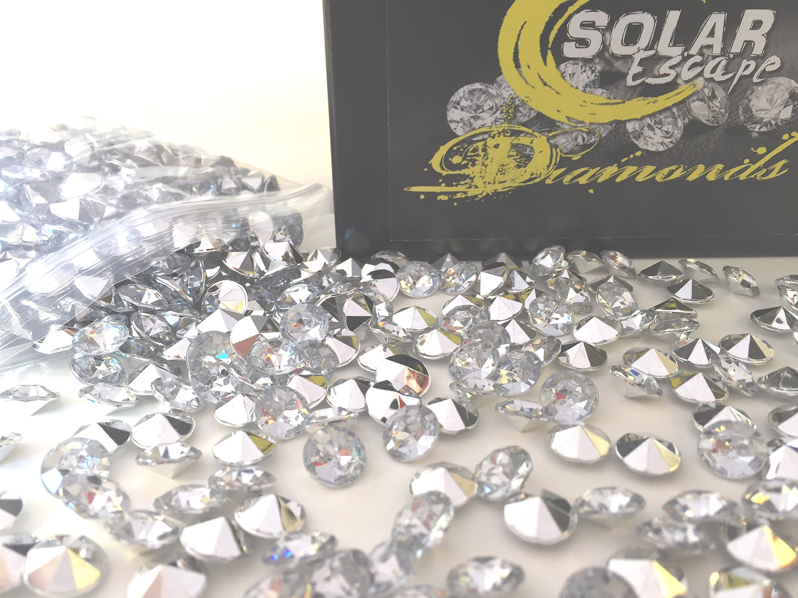 800 Diamond Table Scatter Confetti 4 Carat/ 10mm Clear / Silver - Diamond Theme Party Supplies - Wedding Bridal Shower Party Decorations by SolarEscape by Solar Escape