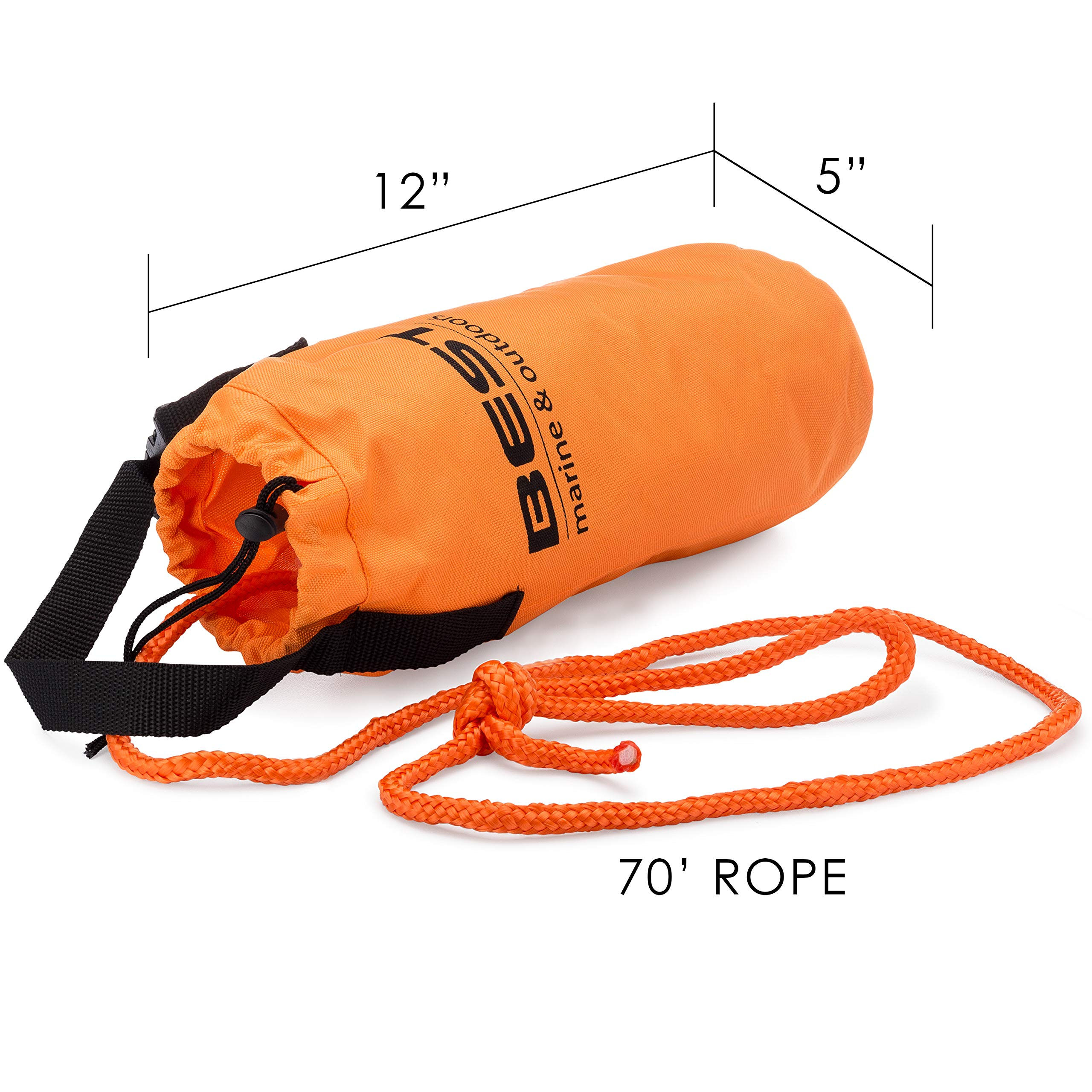 Best Marine Throw Bag Rescue Rope with 70 Feet of Marine Line. Throwable Flotation Device for Kayaking and Boating. High Visibility Water Rescue Safety Equipment for Kayak and Boat Emergency by BEST Marine and Outdoors