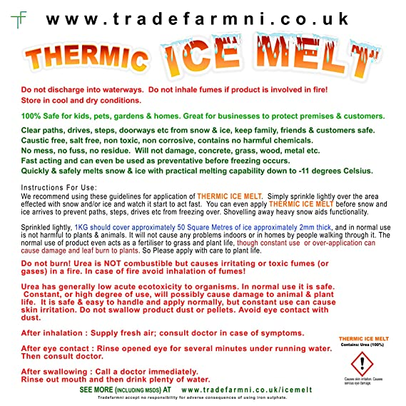 THERMIC Snow and ICE MELT- Child and Pet Safe - Powerful and Magic Ice Melt  100% Urea  Non Corrosive  Non Salt  No Mess, No Residue, No Damage, No