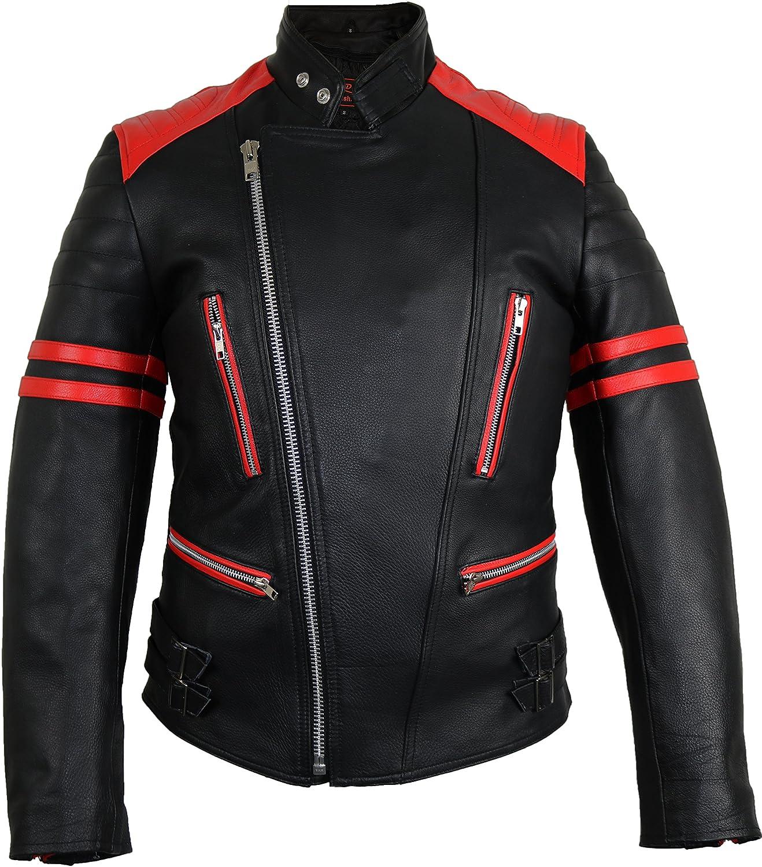 MDM Retro Oldschool Lederjacke, schwarz rot Motorradjacke