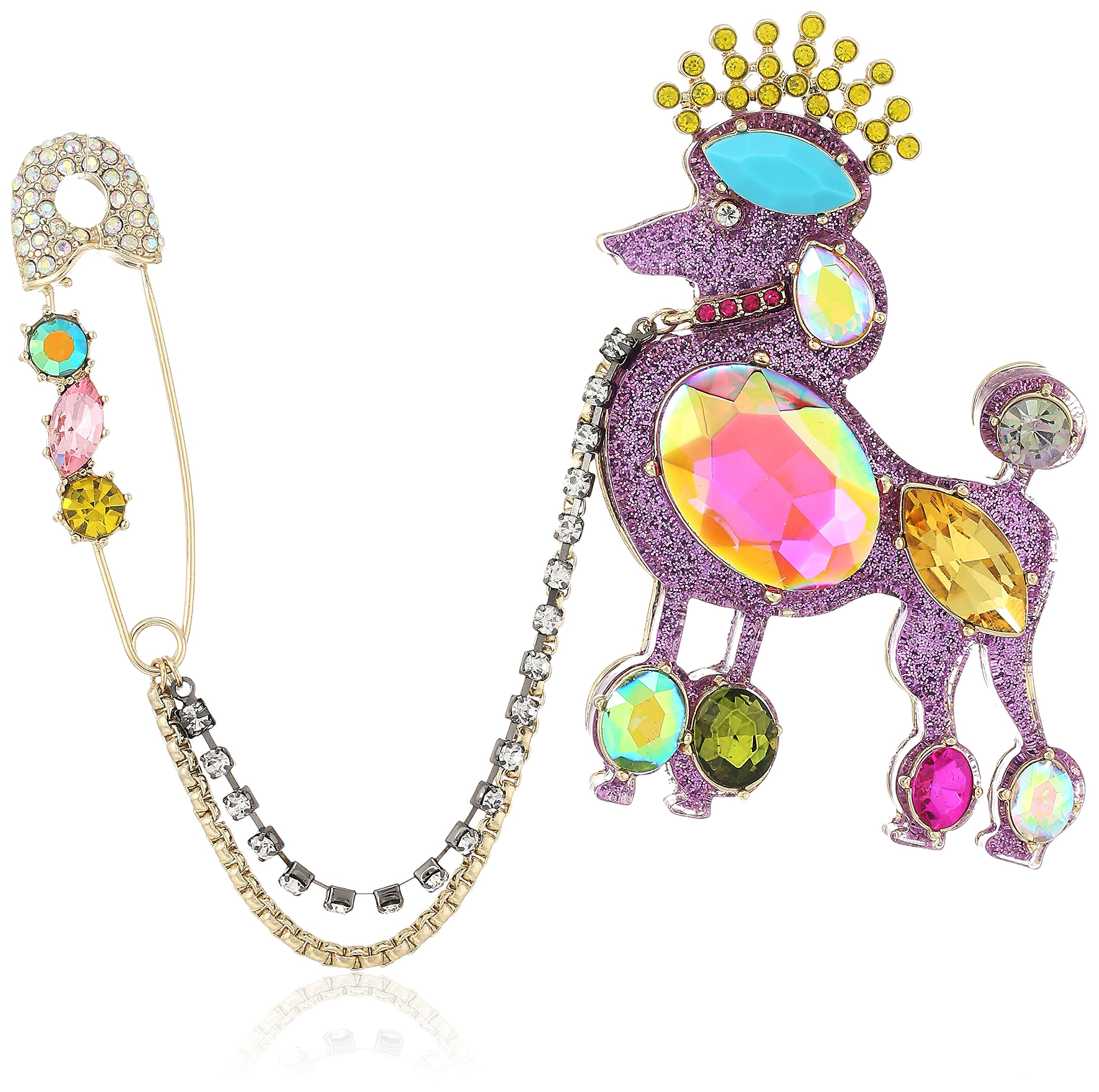 Betsey Johnson Womens Granny Chic Safety Pin and Poodle Pin, Multi, One Size