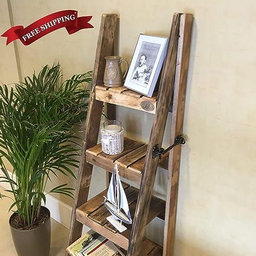 Rustic Ladder Shelves Handmade In Kent Using Reclaimed Wood Amazon