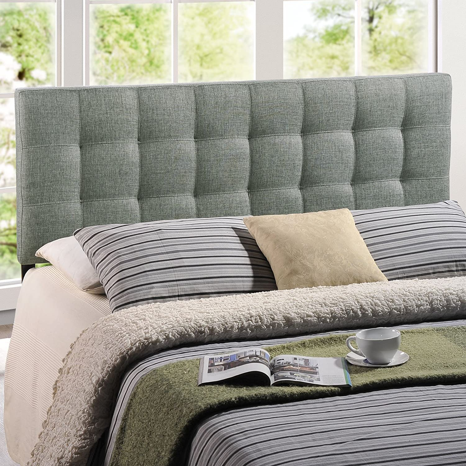 Amazon.com - Modway Lily Upholstered Tufted Fabric Headboard Queen Size In  Gray - - Amazon.com - Modway Lily Upholstered Tufted Fabric Headboard Queen