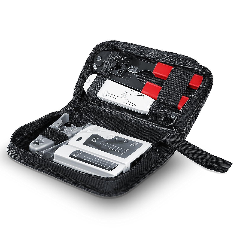 CSL - Tester de Cables de Red para Cable RJ45-/RJ11 | Comprobador de Cables de conexió n/Comprobador de conductividad | Dos velocidades Distintas | Selector On/Off CSL-Computer