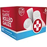 Elastic Stretch Gauze Rolls (6-Pack) - [ 2X Longer ] - Individually Wrapped Latex-Free Rolled Gauze (Size: 4 inch x 8…