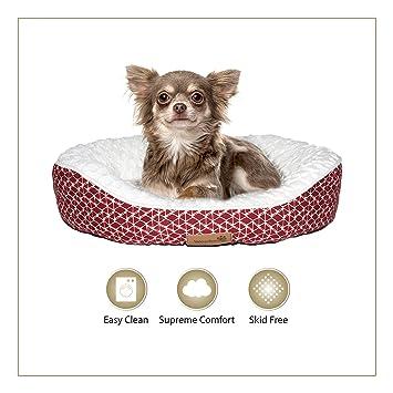 Cama para perros de Woofers; pequeña, roja y blanca, forma ovalada
