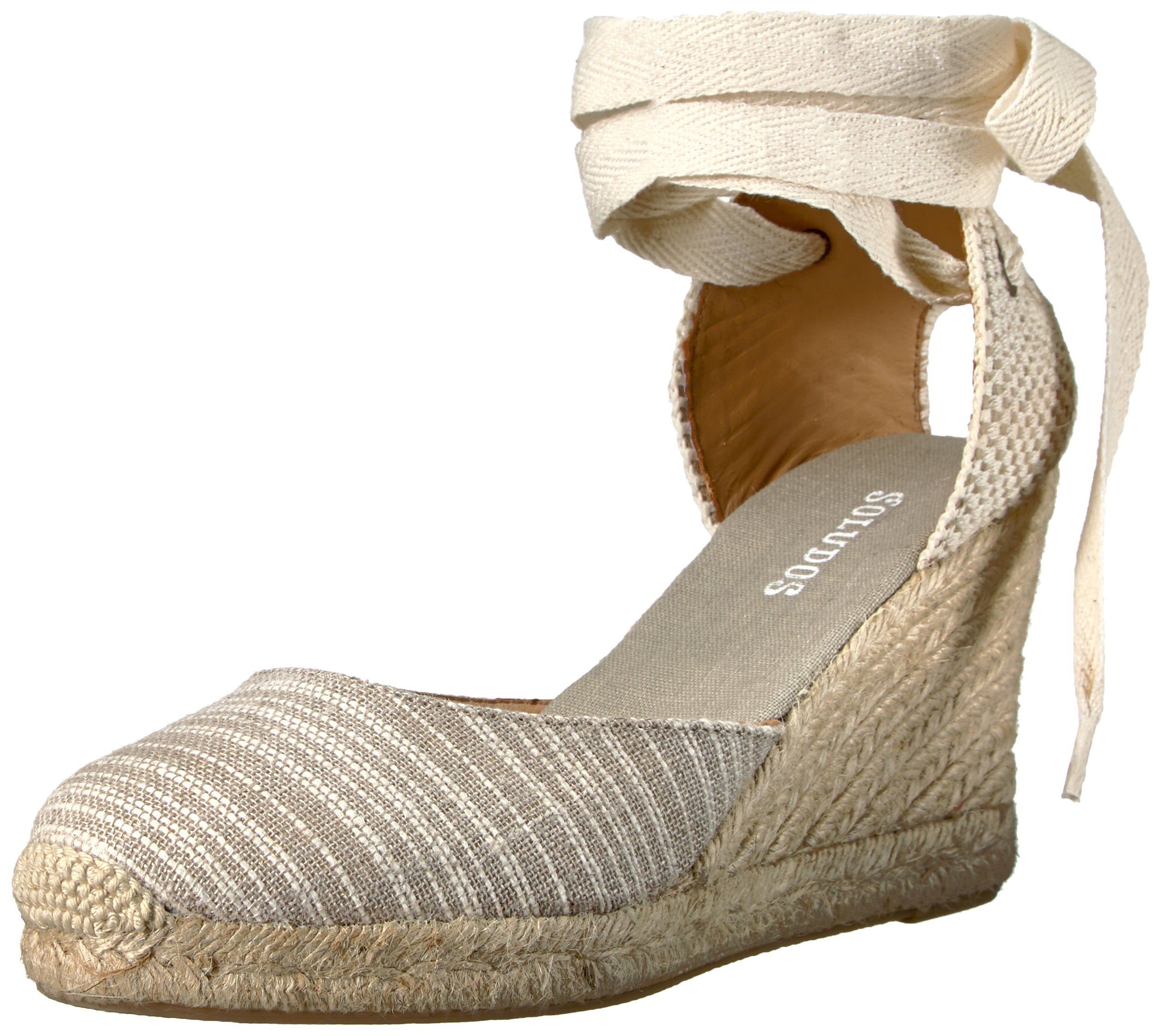 Soludos Women's Striped Tall Wedge (90mm) Flat, Natural, 7 B US