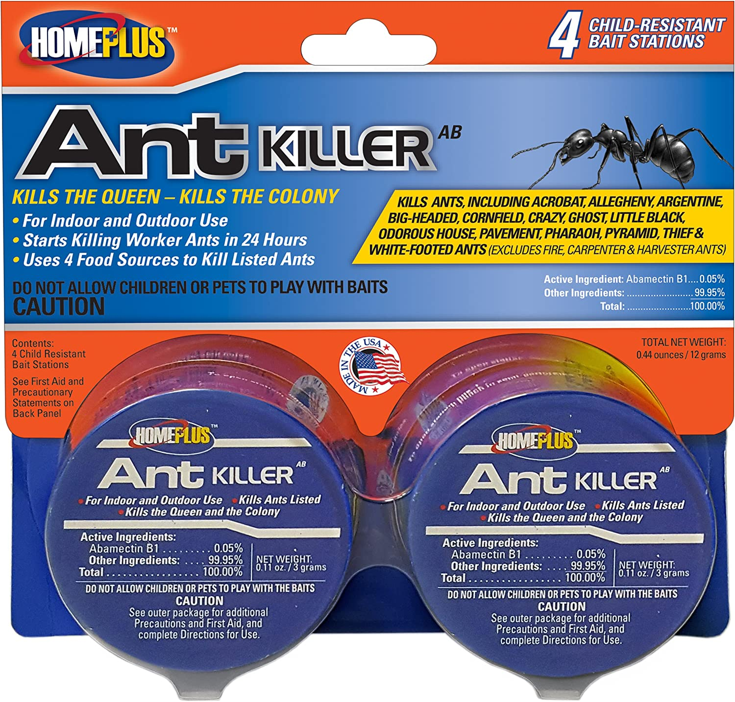 PIC 4PK AB Homeplus Ant Killer Metal Bait Stations, 4 Count, Multicolor