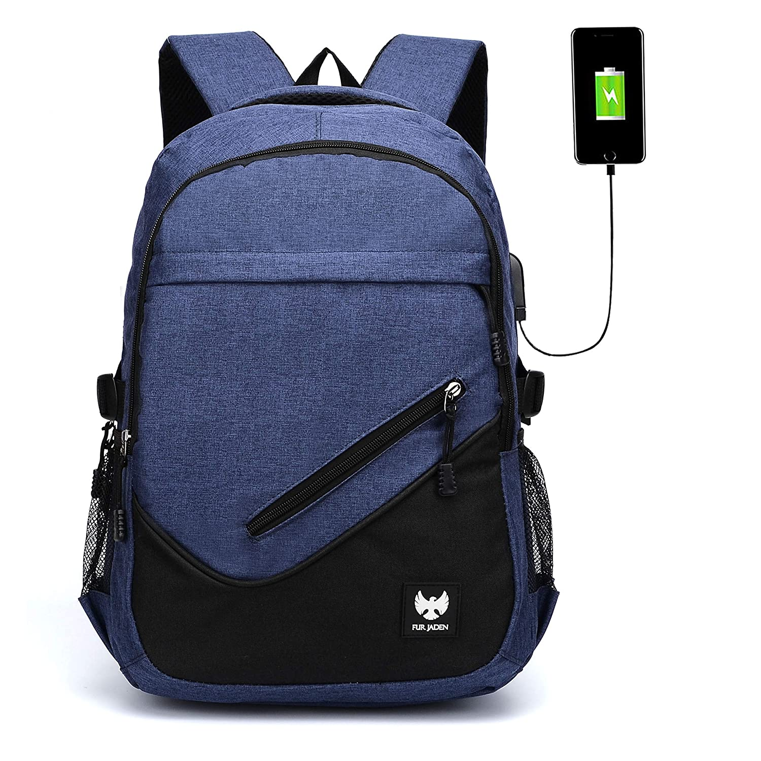 Fur Jaden 25L Navy Casual Backpack With USB Charging Port