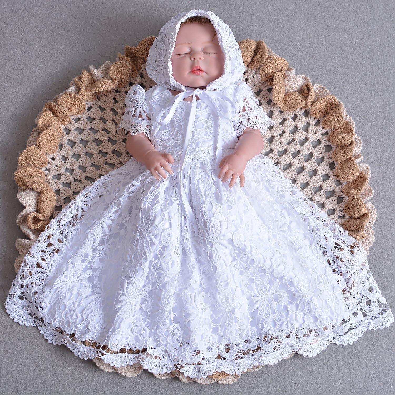 Cinda Bata de Bautizo de Encaje de beb/é con bonete