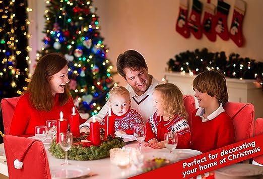 6 Cubiertas - Gorro de Papa Noel para Sillas Comedor - Fundas para Respaldo de Asientos - Accesorio de Decoración- Regalo de Navidad - Adorno de Santa Claus ...
