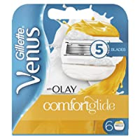 Gillette Venus Comfortglide with Olay 2-in-1 Women's Razor Blades with Shaving Gel Bars, No Shave Cream Needed (Packaging May Vary) - 6 Pack