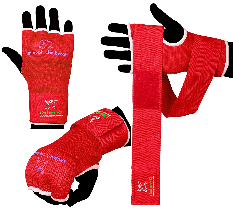 Islero Gants de boxe intérieur gel, sac de frappe MMA, grappin, arts martiaux, bandages