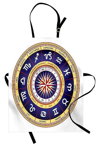 Amazon.com: Ambesonne Astrology Apron, Astrological Wheel Cancer Leo ...