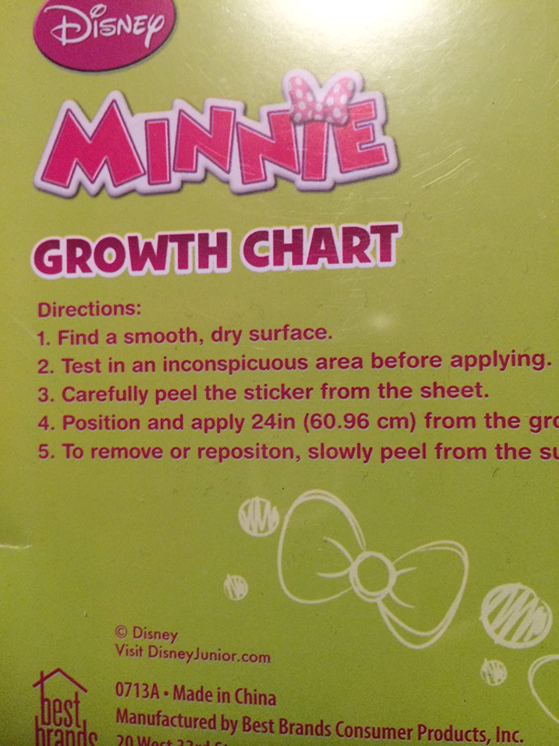 Minnie Mouse Self Stick Removable Growth Chart Amazon Baby