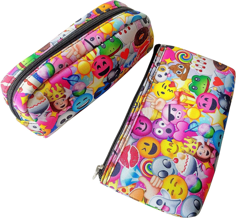 Emoji Colored Pencil Caso Impreso Bolsa de cosméticos de Neopreno con Cierre de Cremallera para Teen Girls, Color, Talla 27,5 EU: Amazon.es: Zapatos y complementos