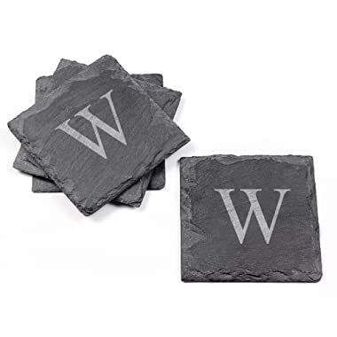 Cathy's Concepts Personalized Slate Coasters, Set of 4, Letter W