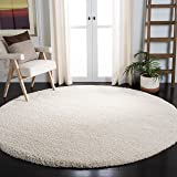 Safavieh Milan Shag Collection SG180-1212 2-inch Thick Area Rug, 3' Round, Ivory