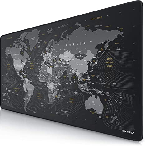 Groß Schwarz Weltkarte Muster Mauspad Matte Mäuse Schreibtisch Neu