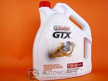 Castrol GTX Aceite de Motores 15W-40 A3/B3 5L (Sello alemán): Amazon.es: Coche y moto
