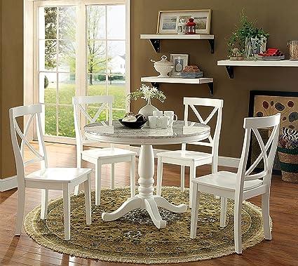 Amazoncom Penelope Transitional Style White Piece Round Dining - White and walnut dining table