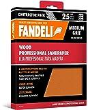 "Fandeli 36011 Medium Grit Wood Sandpaper Sheets, 9"" x 11"", 25-Sheet"