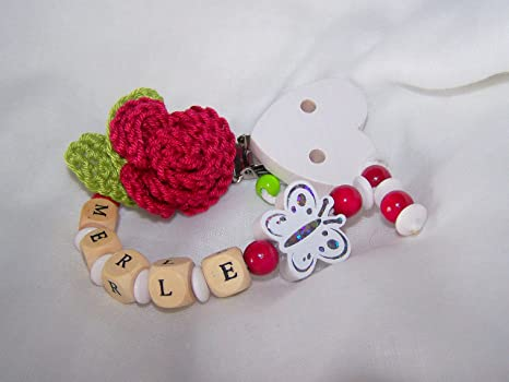Cadena para chupete con nombres, mariposa, Rose, Flores ...