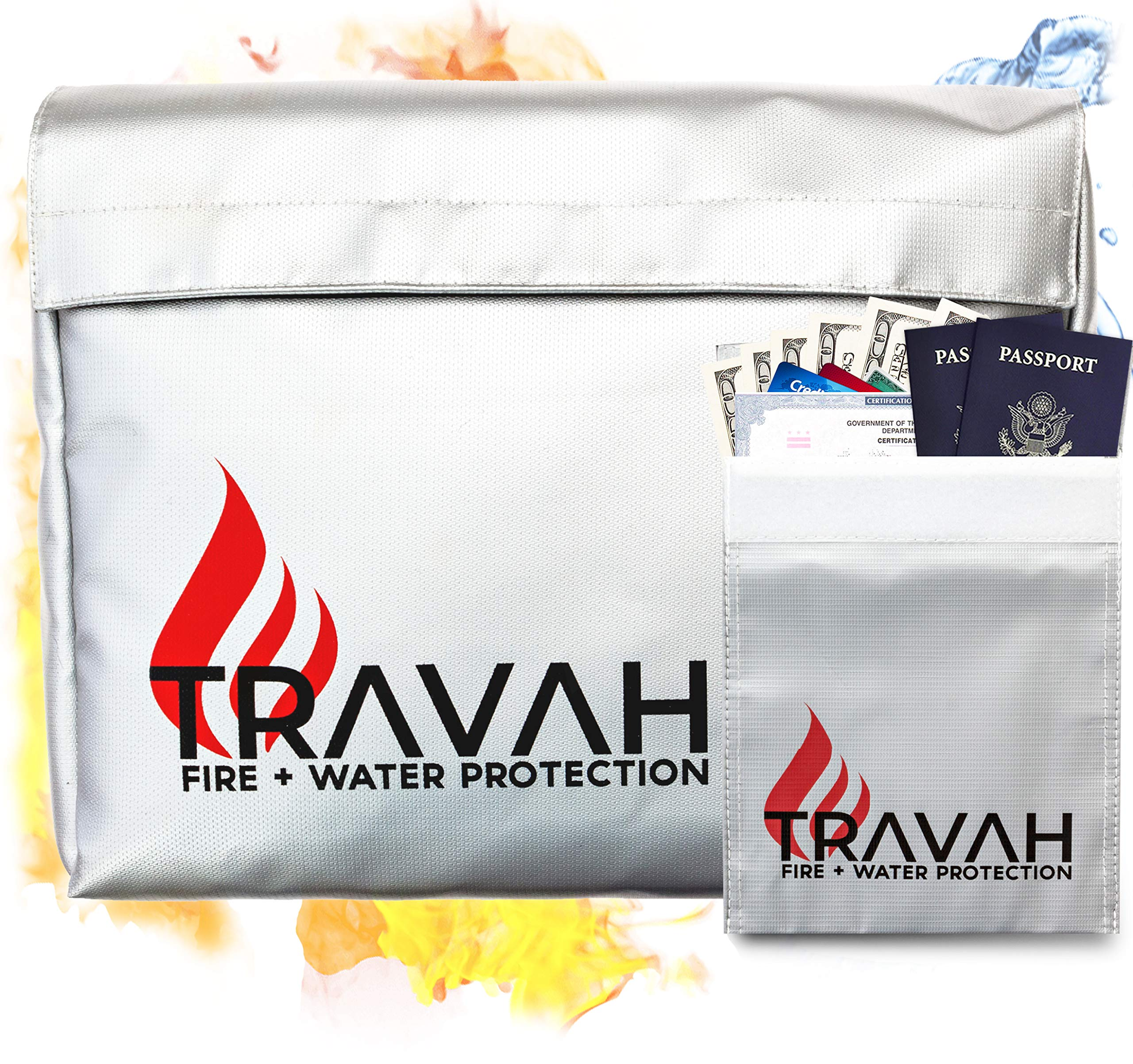 Fireproof Document Bag - Large & Small Fire Water Resistant Bag Set Safe Storage for Home & Office XL 15''x11''x4'' Important File Documents Holder | Money Envelope Security Pouch Jewelry Cash Passport