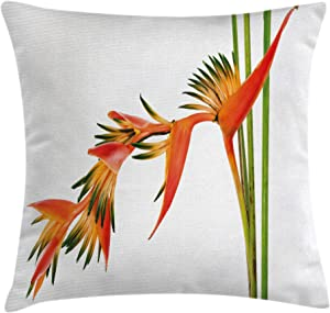 """Ambesonne Floral Throw Pillow Cushion Cover, Exotic Tropical Flowers on Branch Colorful Nature Jungle Garden Theme Image Print, Decorative Square Accent Pillow Case, 18"""" X 18"""", Scarlet Green"""