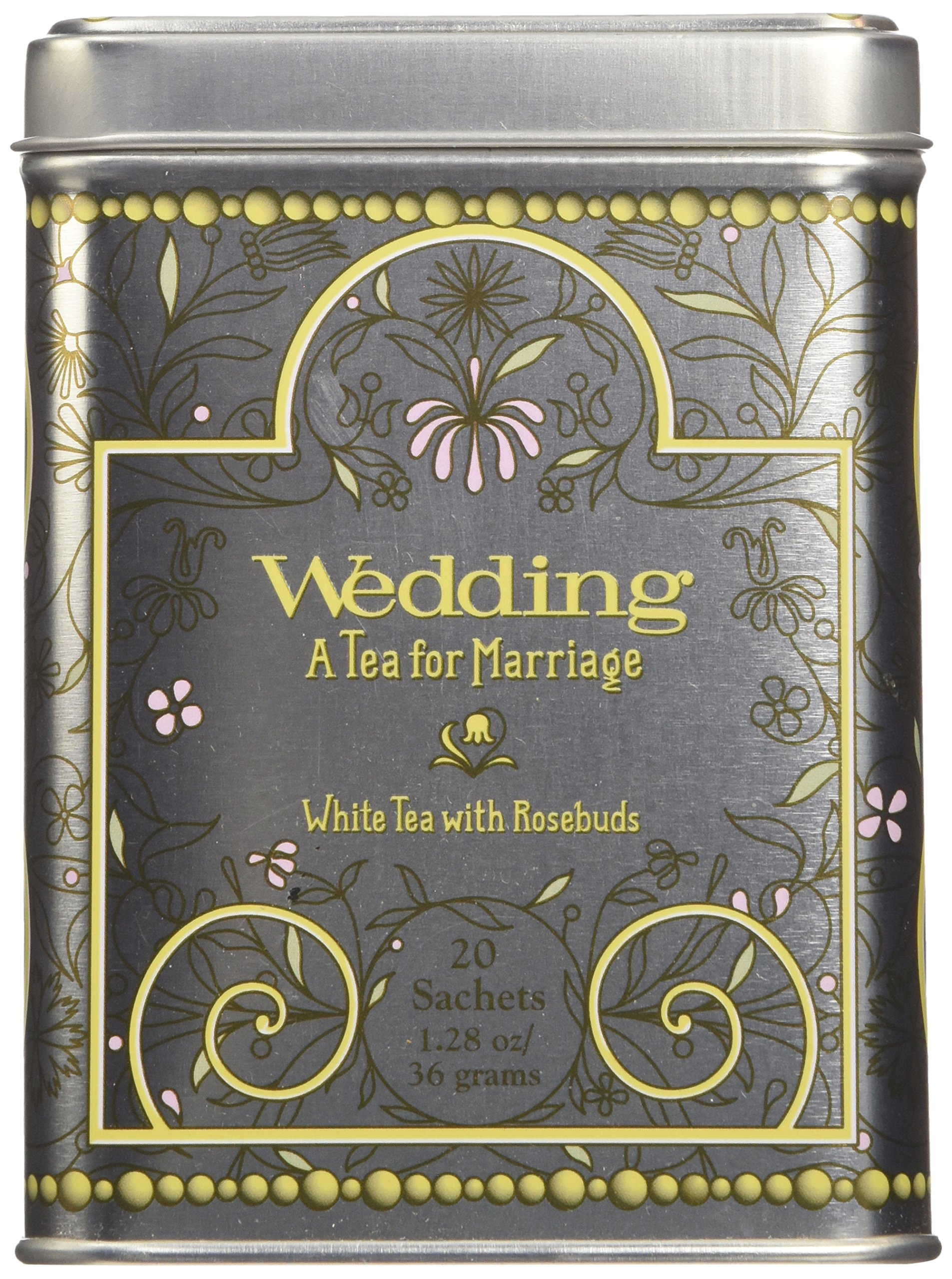 Harney & Sons Caffeinated Wedding White Tea With Rosebuds and Petals Tin 20 Sachets