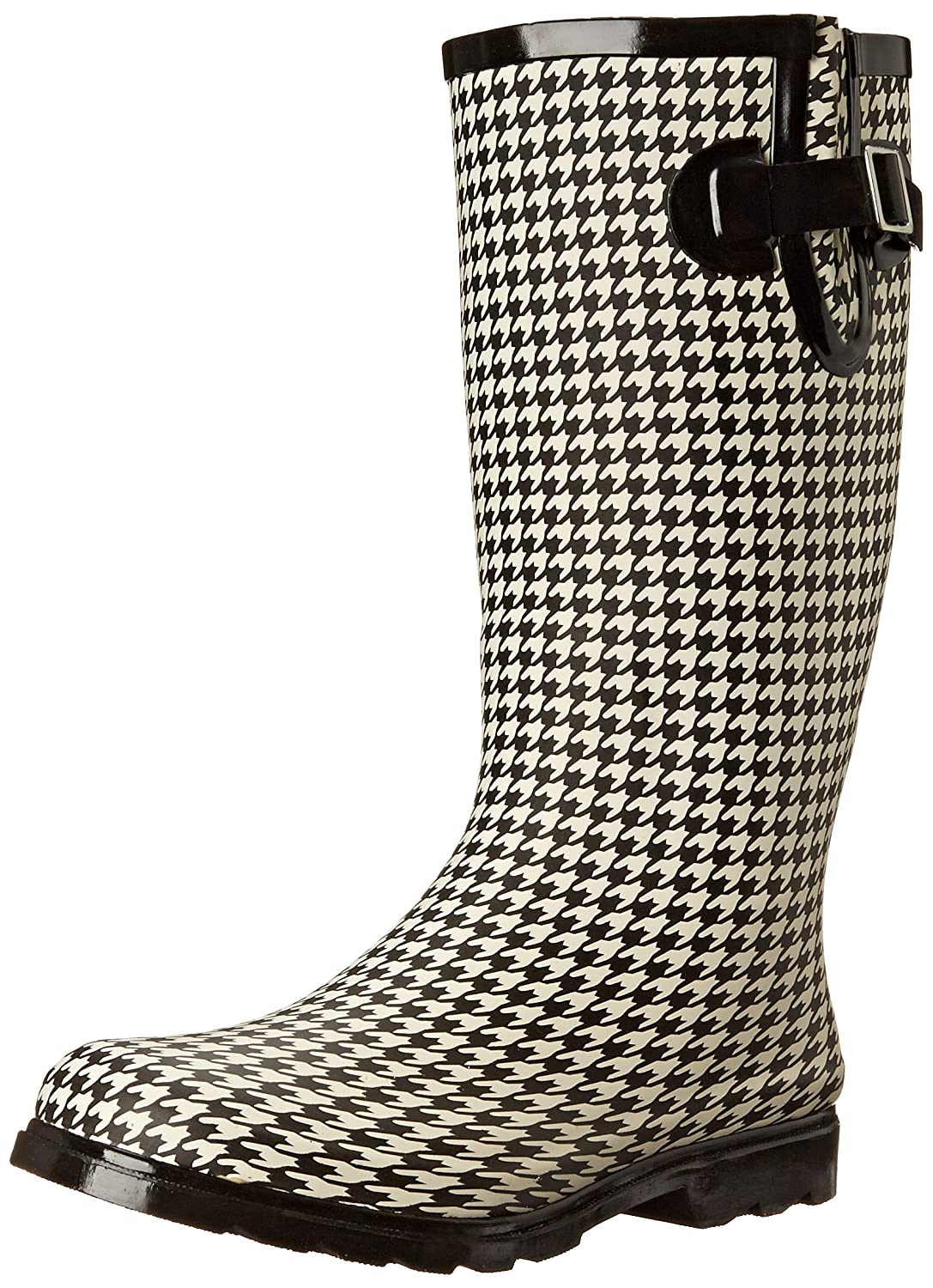 Nomad Women's Puddles Rain Boot B00T9QQQQ8 6 B(M) US|Black/White Hounds Tooth