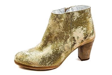 Felmini Damen Western Stiefeletten Gold Beige