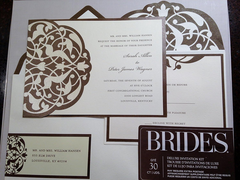 amazoncom brides diy wedding invitation kit brownivory home kitchen - Brides Wedding Invitation Kits