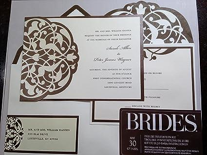 Amazon Com Brides Diy Wedding Invitation Kit Brown Ivory Home