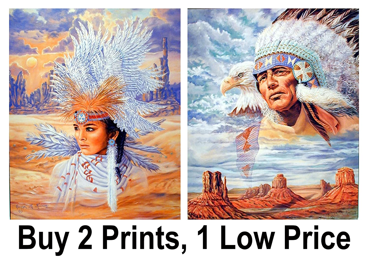 a4e4c8d12e0 Amazon.com  Native American Indian Maiden Headdress and Indian Chief Eagle  Two Set 8x10 Wall Decor Art Print Posters  Posters   Prints
