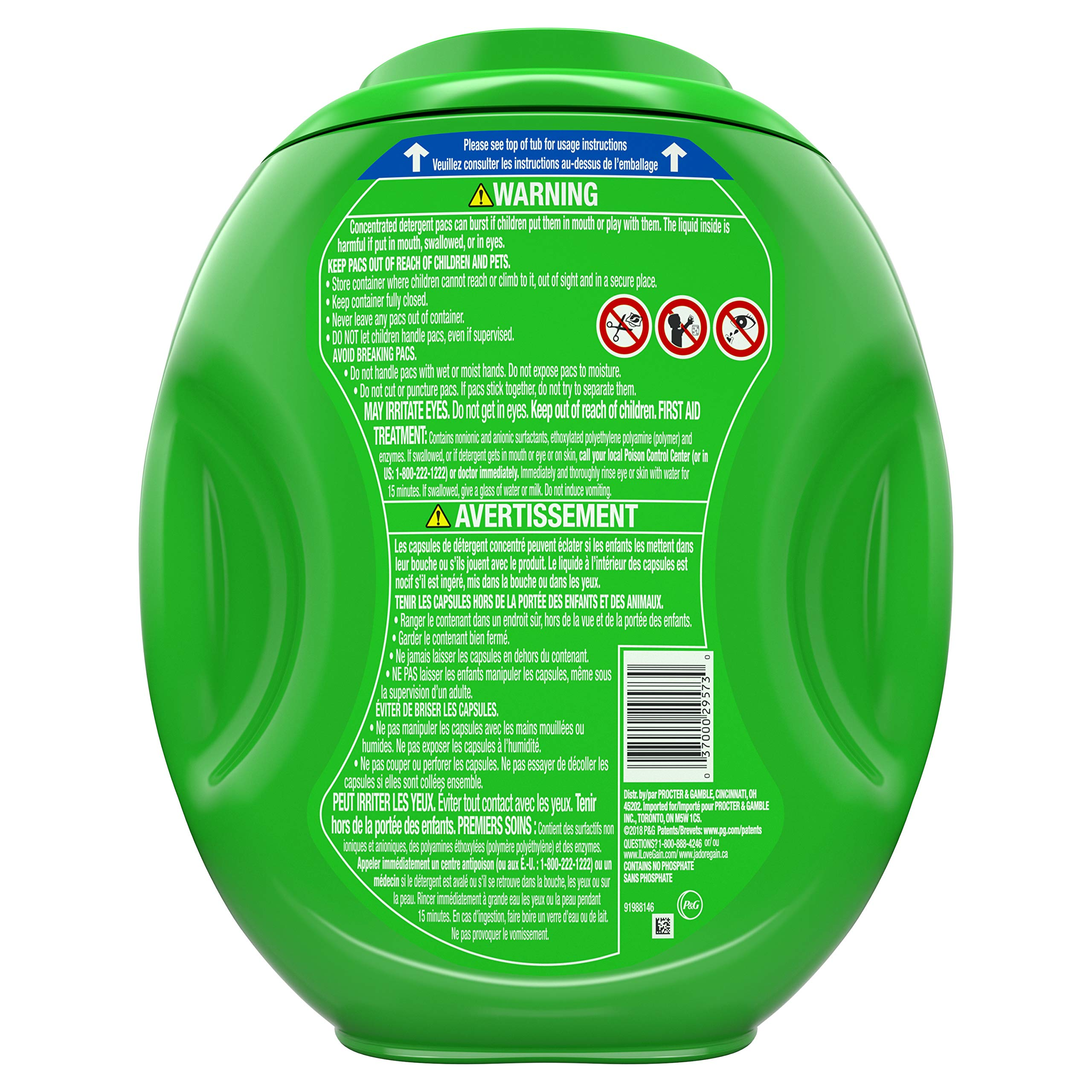 Gain flings! Liquid Laundry Detergent Pacs, Blissful Breeze, 96 Count by Gain (Image #2)