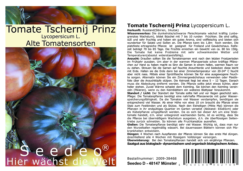 Tomate Tschernij Prinz (Lycopersicum L.) 25 Samen Reinsaat Seedeo
