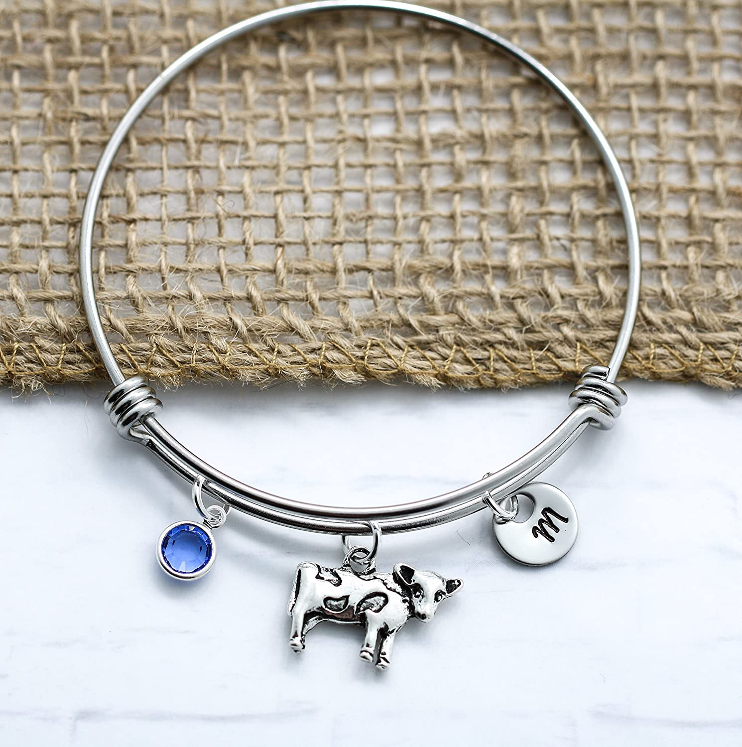 7495bdb2b09e Amazon.com  Cow Bracelet for Women - Silver Cow Themed Gift Ideas -  Personalized Birthstone   Initial - Fast Shipping  Handmade