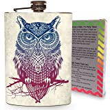 Rainbow Tattoo Owl Flask Stainless Steel 8oz Hip Flasks Spirits Whiskey Vodka Tequila Drinking Owls Bird Wild Animal Gift Box
