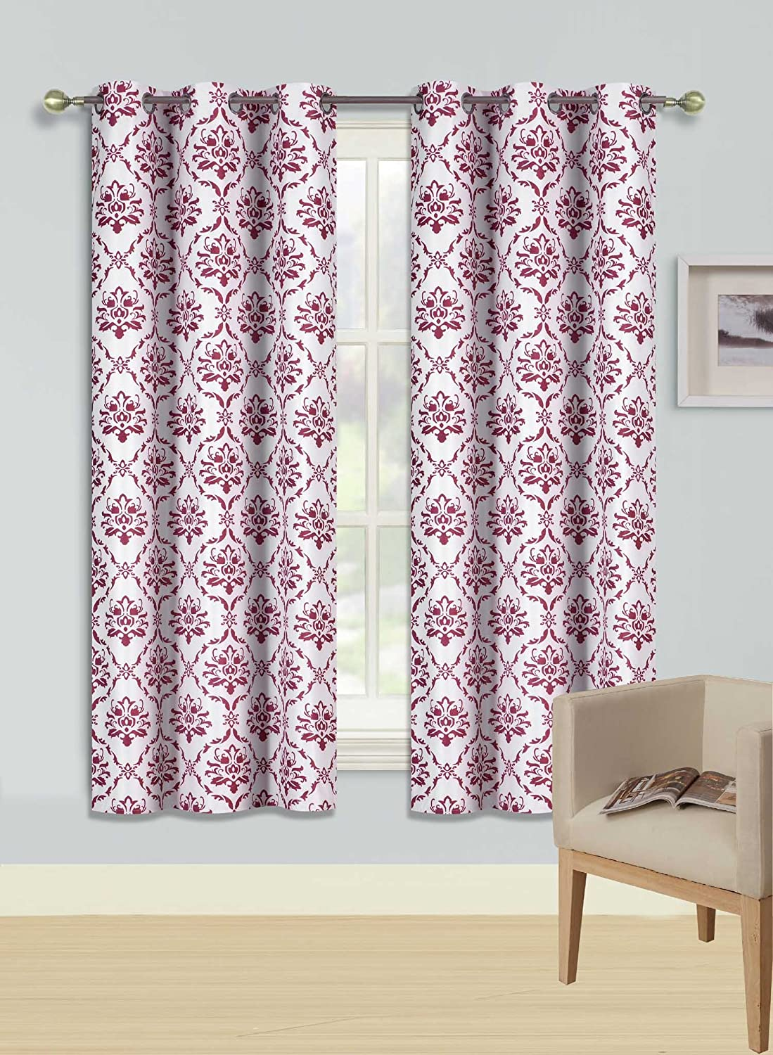 """GorgeousHomeLinen (F'S) 1 Panel 2 Tone Printed Design Room Darkening Thermal Blackout Window Curtain 63"""" or 84"""" Long, 3 Different Designs (63"""" Length, Dino-Burgundy)"""