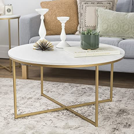 Amazoncom WE Furniture 36 Coffee Table with XBase Marble