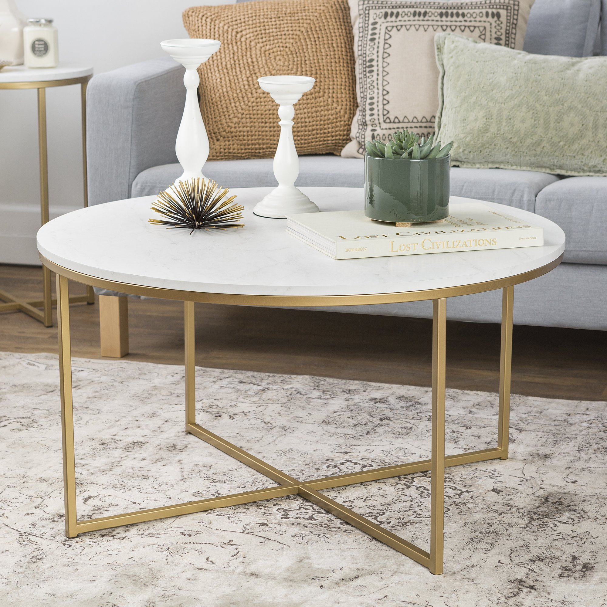 WE Furniture 36'' Coffee Table with X-Base - Faux Marble/Gold