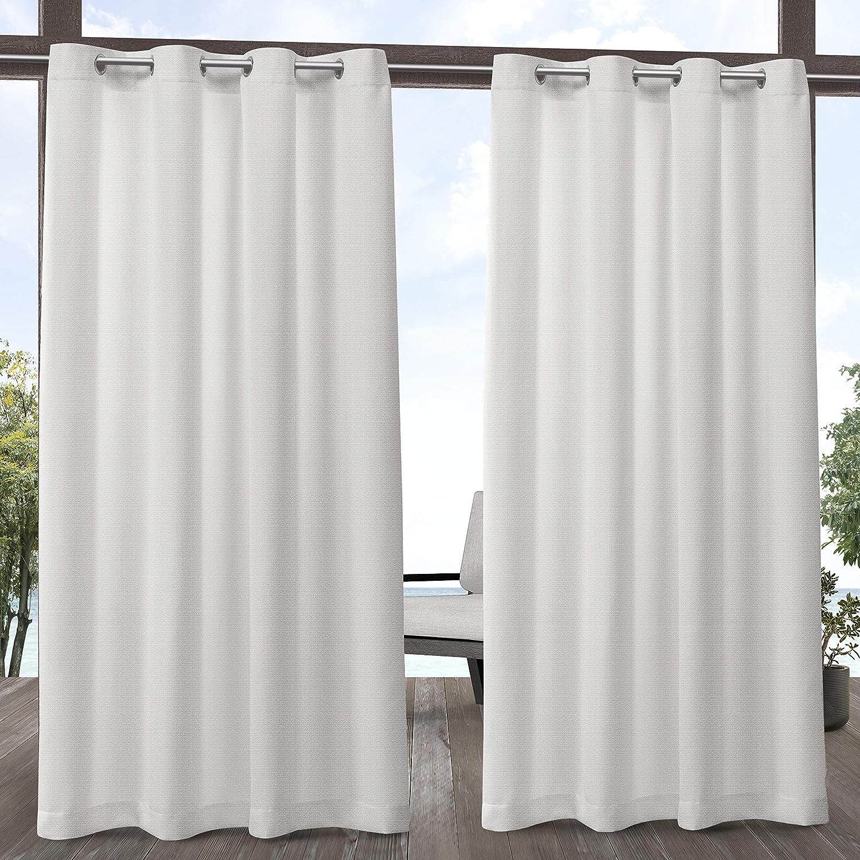 Exclusive Home Curtains Aztec Indoor/Outdoor Grommet Top Curtain Panel Pair, 54x84, White