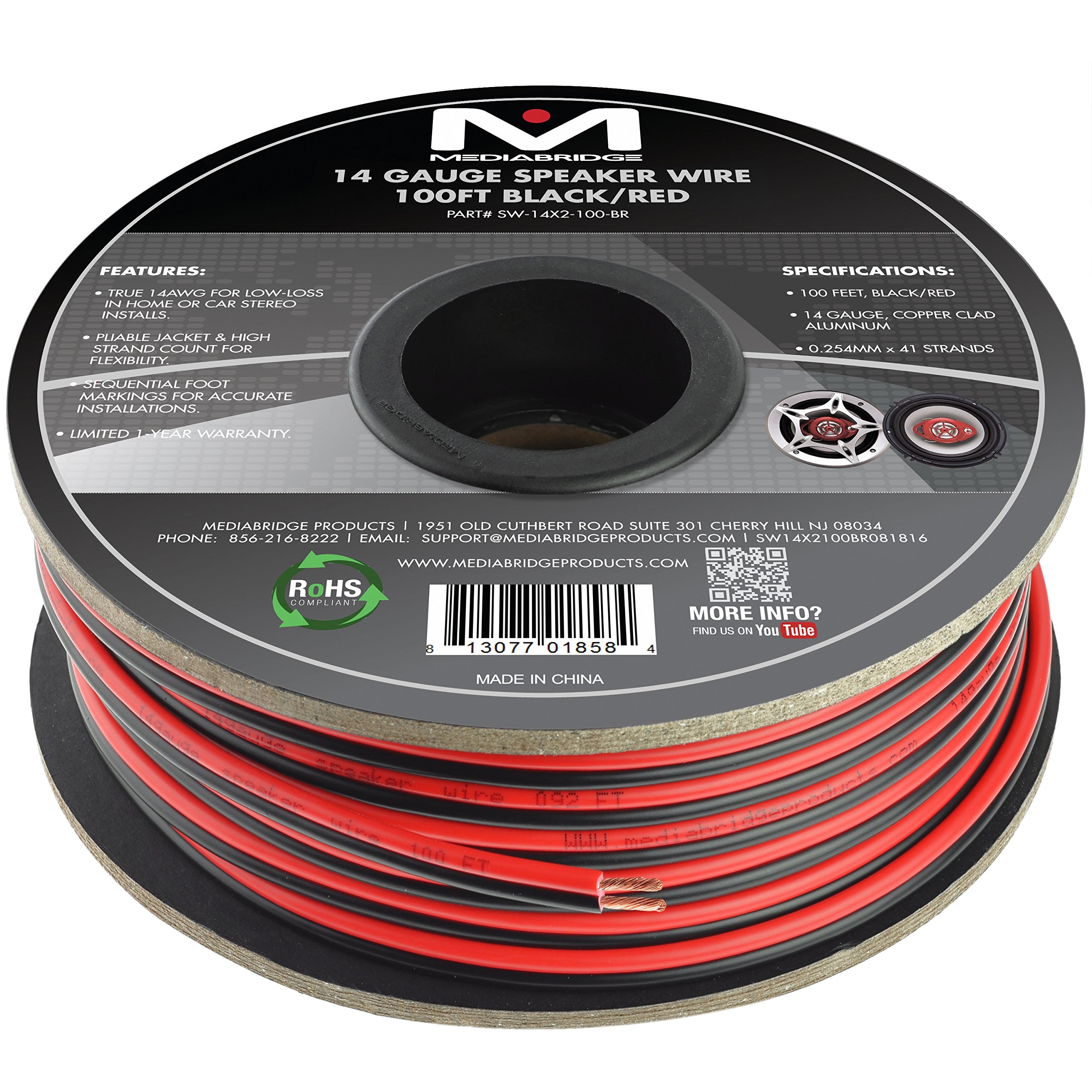 Mediabridge 14AWG 2-Conductor Speaker Wire (100 FT, Black/Red) - for Home Or Car - Copper Clad Aluminum (SW-14X2-100-BR)