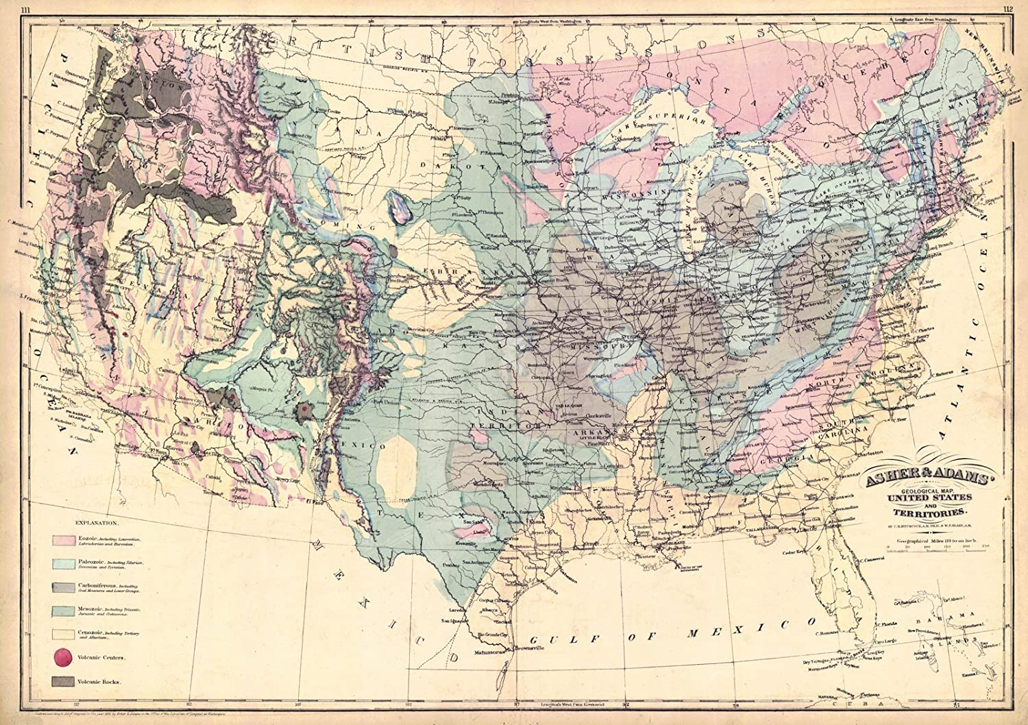 Amazon.com: Historic Map | 1872 Asher and Adams\' Geological Map ...