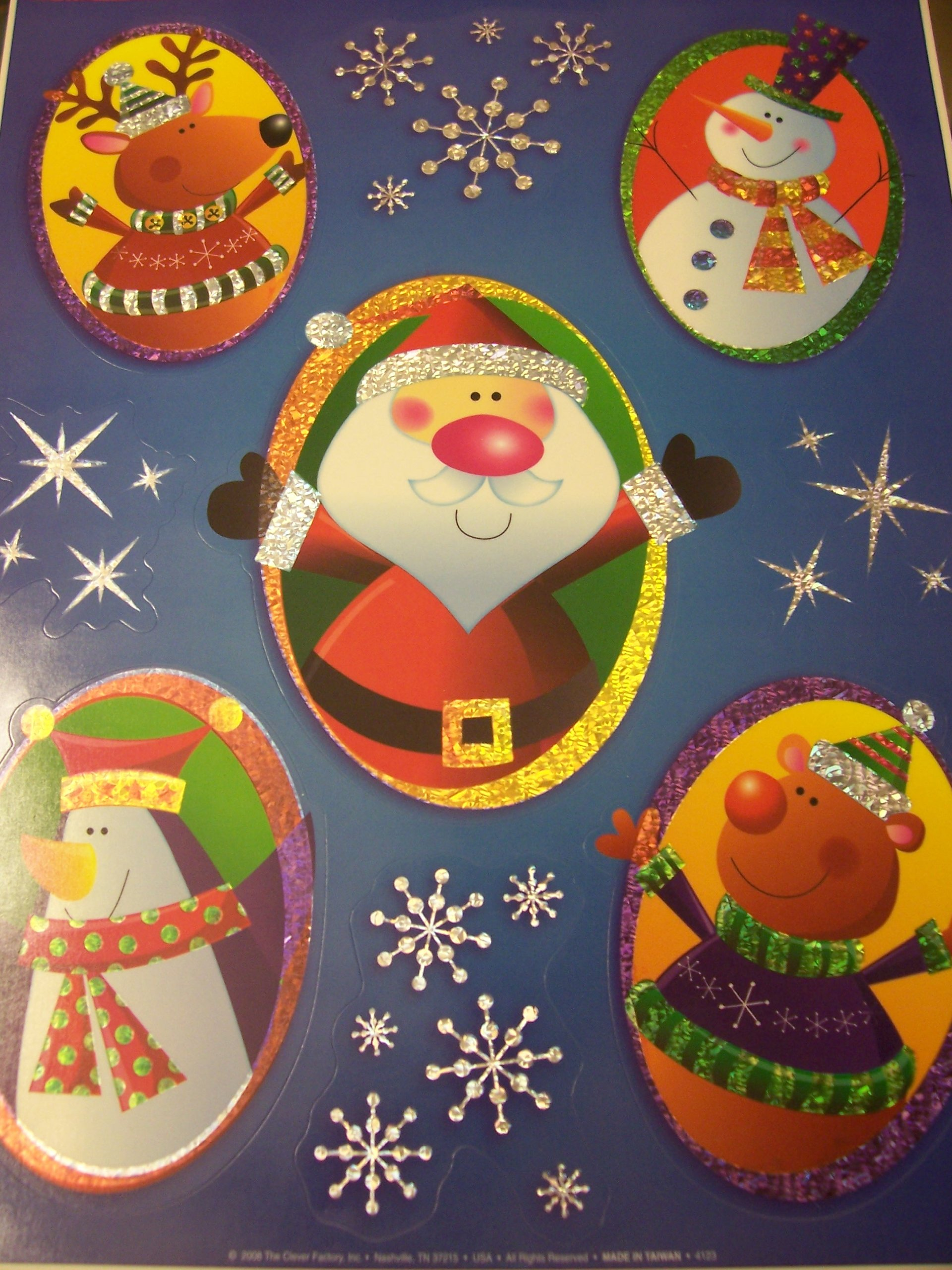 Christmas Laser Window Clings ~ Characters & Snowflakes