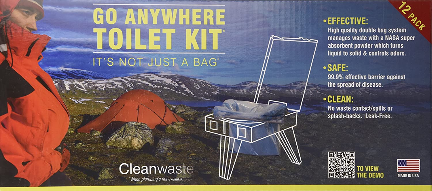 Cleanwaste GO Anywhere Toilet Kits-100/Pack (D007W00) : Camping Sanitation Supplies : Sports & Outdoors
