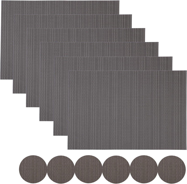 FETESNICE 6er Set Platzsets,waschbar rutschfeste W/ärmed/ämmung gewebt Vinyl Tischsets f/ür K/üche Esstisch Tischsets 30x45cm Beige