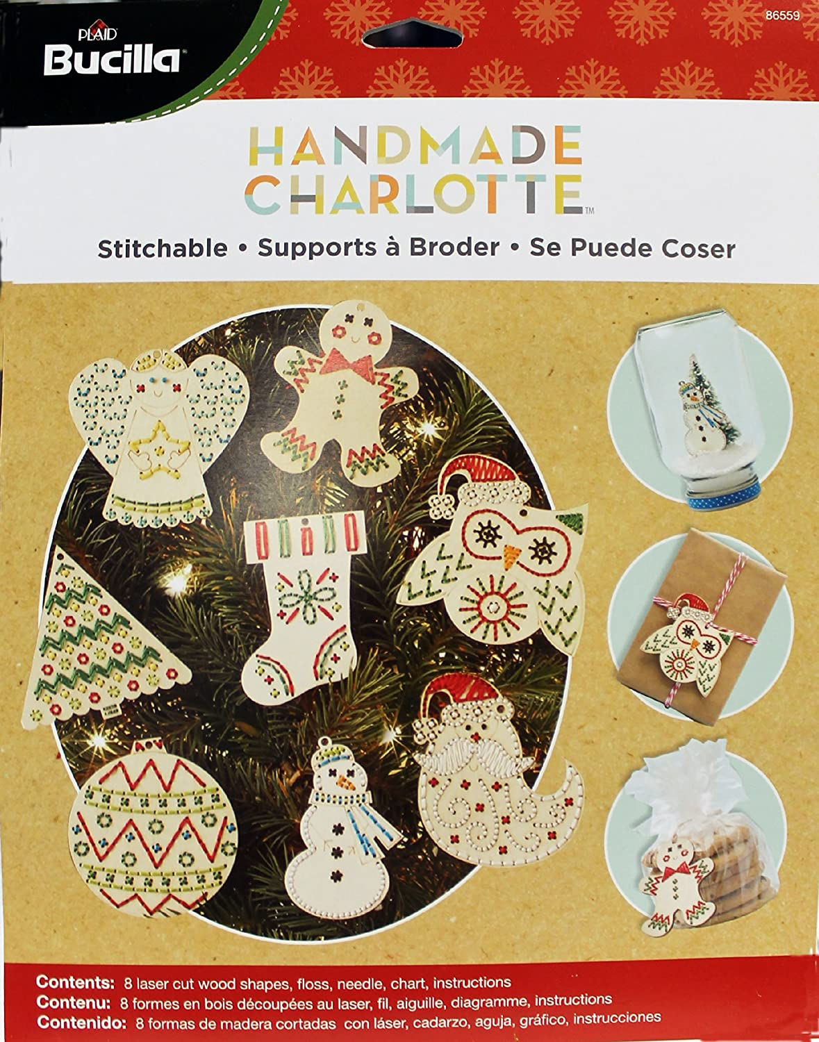 Bucilla Handmade Wood Stitchable Kit, 3 by 3-Inch, 86559 Shapes (Set of 8) Plaid Inc